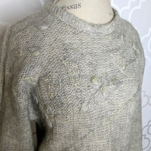 Vtg Super Mohair by Felca Gray Embroidered Sweater